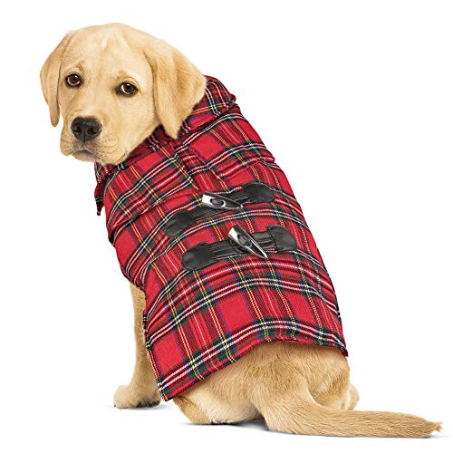 Collections Etc Red Plaid Toggle Winter Dog Jacket with Velcro Strap, Large (Jacket Toggle Weather)