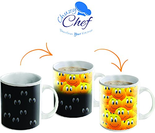 Amazon.com: Magic Color Changing Funny Mug   Cool Coffee U0026 Tea Unique Heat  Changing Sensitive Cup 12 Oz Smiley Faces Design Drinkware Ceramic Mugs  Cute ...