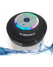Waterproof Bluetooth Speaker With Color Changing LED Light Ring, Waterproof/Water Resistent Wirless Shower Speaker, Compatible With All Bluetooth Device's, Waterproof Speaker Great For And Compatible With All iPhone And X, 8/8 Plus 7/7 Plus, Compatible with All Samsung Galaxy Note 8, S8/S8 Plus S7/S7 Edge And All Bluetooth Device's, Bluetooth Speakers Waterproof, Durable,Dry Or Wett With Alientech Bluetooth Speaker,2 free gift's(Usb sd card adapter, and accessory bag)