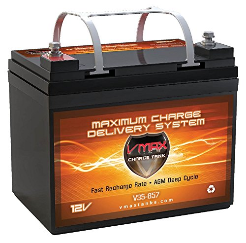 VMAX V35-857 12V 35AH AGM Deep Cycle U1 Battery (7.7''x 5''x 6.1'') for Minn Kota Endura Max 45 Hand Control - 12V-45lb Trolling Motor by VMAXTANKS