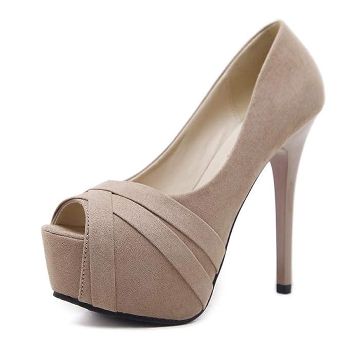Las Mujeres Los Tacones Altos Resbalón En Los Mocasines De Gamuza Zapatillas De Deporte De Cuña De Verano De Alta Moda Zapatos De Baile: Amazon.es: Ropa y ...