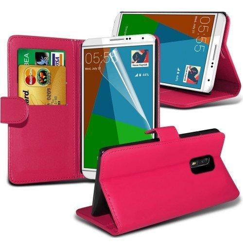 Samsung Galaxy Note 4 Cubierta del caso con cuero (Rosa caliente) Plus de regalo libre, Protector de pantalla y un lápiz óptico, Solicitar ahora mejor caja del teléfono Valorado en Amazon! By FinestPh