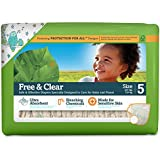 Seventh Generation Free and Clear Sensitive Skin Baby Diapers with Animal Prints, Size 5, 23 Count (Pack of 5)