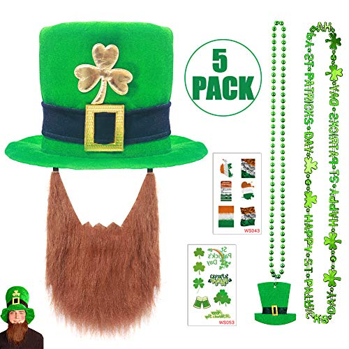 St Patrick's Day Hat 5 PCS Set - Leprechaun Hat with Gold Shamrock & Green Necklace & Irish Flag Tattoos, Costume Accessories Set for Parade Men and Women ()