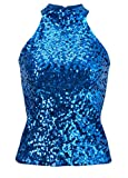 Howriis Women's Blue Sequins Halterneck Summer Short Vest Tank Tops (One Size, Blue)