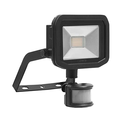 LUCECO LFSP18B150-BQ Slimline LED Floodlight, 1800LM 22W 5000K, Neutral  White Outdoor Light, IP65 Foodlight, IP44 PIR 1m Cable, Black