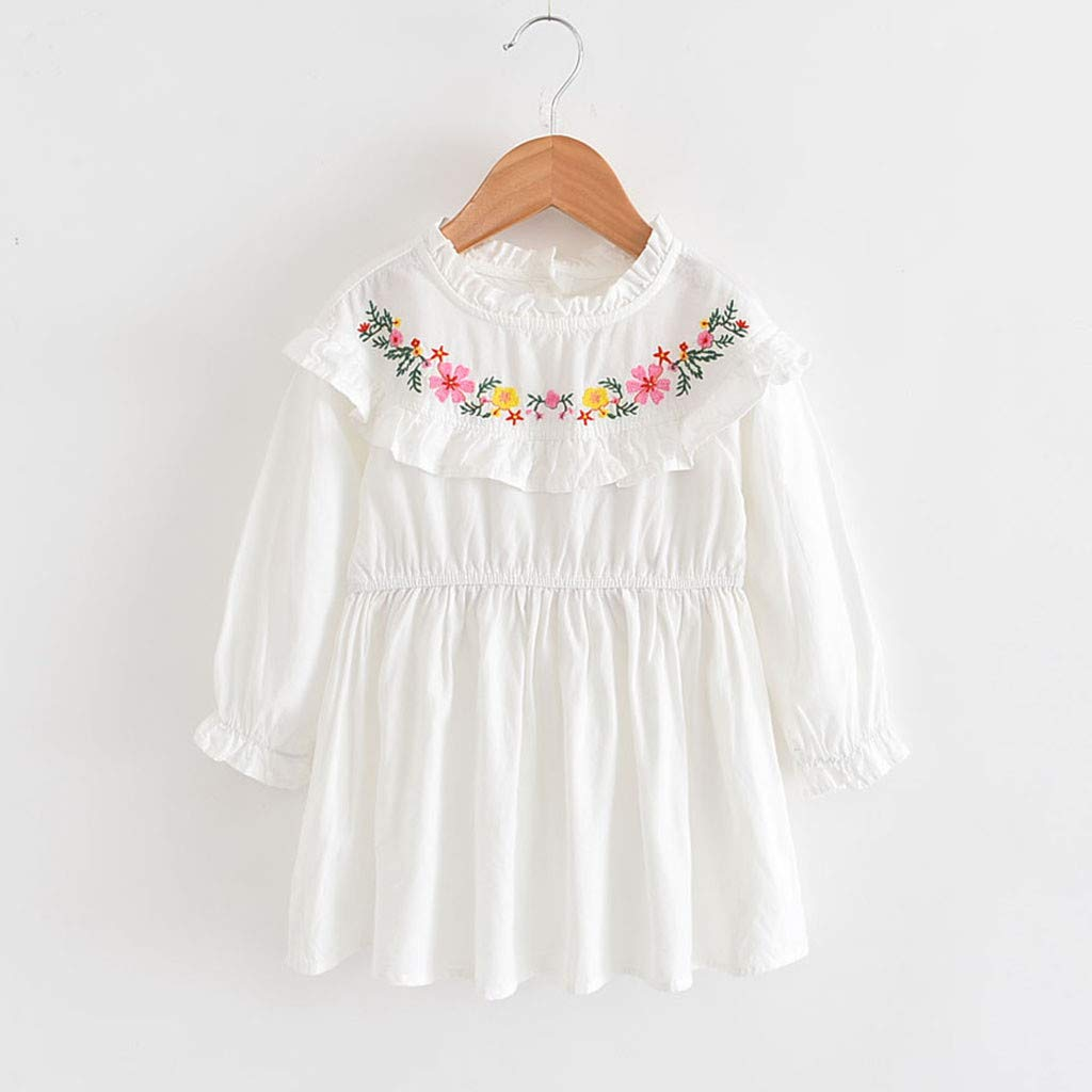 Baby Girls Floral Embroider Dress Teen Kids Little Princess Dresses Long Sleeve Skirt Outfits Clothes 2-7 Years