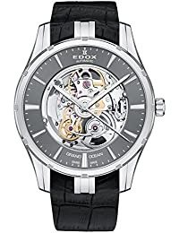 Men's 'Grand Ocean' Swiss Automatic Stainless Steel and Leather Diving Watch, Color:Black (Model: 85301 3 GIN)