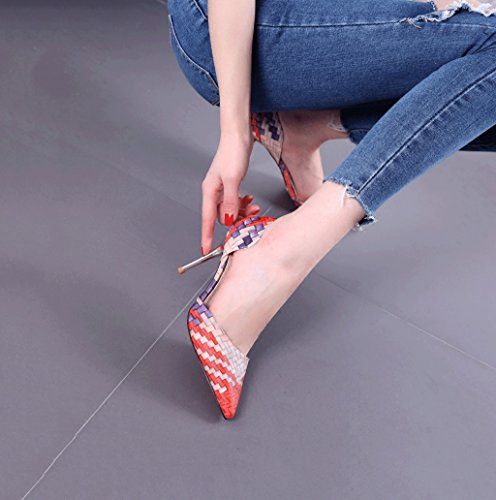 Weaving Style Pointed-Toe High Heels Fashion Comfortable Women's Sandals Summer Sexy Shallow Mouth Wedding Shoes Elegant Baotou Shoes (Color : Red, Size : 38)