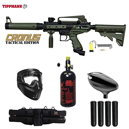 MAddog Tippmann Cronus Tactical Starter HPA Paintball Gun Package - Black/Olive