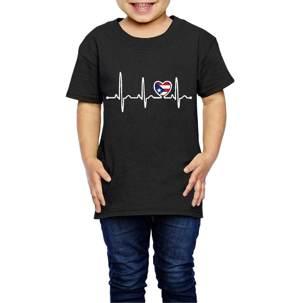 Puerto Rico Flag Heartbeat Pride 2-6 Years Old Child Short-Sleeved T-Shirt
