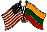 PACK of 3 Lithuania & US Crossed Double Flag Lapel Pins, Lithuanian & American Friendship Pin Badge