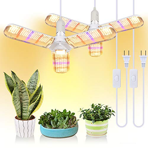 150W LED Grow Light Bulb Foldable Sunlike Full Spectrum Lamp for Indoor Plants, 414 LEDs Sunlike Grow Lights with Power Cord, E27 Plant Lamp for Flowers, Vegetables, Greenhouse & Hydroponic (2 Pack)