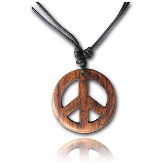 Vintage Style Jewelry, Retro Jewelry Earth Accessories Adjustable Length Organic Wood Peace Sign Pendant Necklace $13.49 AT vintagedancer.com
