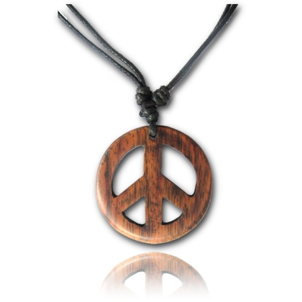 Earth Accessories Adjustable Length Organic Wood Peace Sign Pendant Necklace