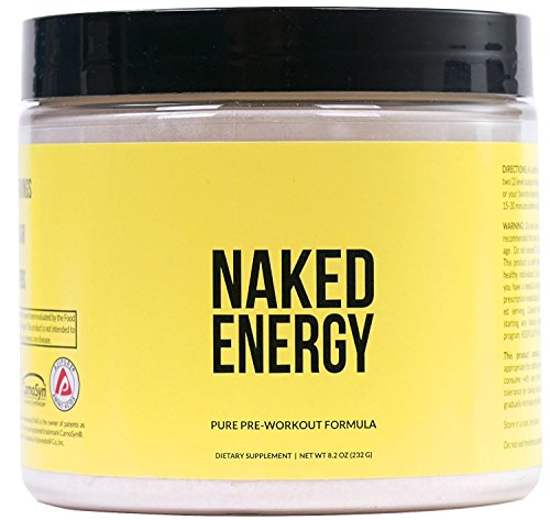 Naked Energy – Unflavored All Natural Pre Workout Supplement for Men and Women, Vegan Friendly, No Added Sweeteners, Colors or Flavors – 50 Servings