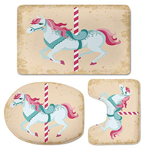 YOLIYANA Horse Decor Bath Mat 3 Piece Set Soft Flannel Cloth Washable Toilet Seat Covers Toilet Lid Covers Cushions Pads Skidproof Bath -