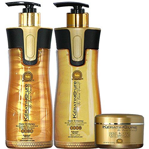 Keratin Cure Gold & Honey 3 Piece Deep Hair Care Sulfate Free Shampoo, Conditioner & Deep Masque Soft Repair Moisturize Argan & Fruit Oils, Shea botanicals for keratin treated hair 15 oz/ 8 oz