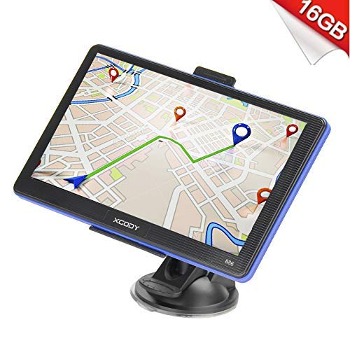 Xgody Portable Car Truck GPS Navigation 886 7'' Capacitive Touchscreen 256MB RAM 16GB ROM NAV System Navigator with Sun Shade Lifetime Maps Updates Spoken Turn-By-Turn Directions