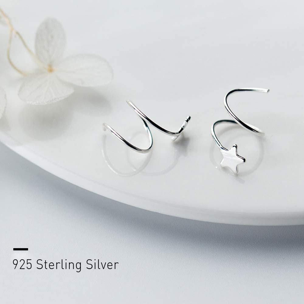 OwMell 925 Sterling Silver Star Earrings for Women Girls Fashion Twist Wrap Ear Stud Earrings
