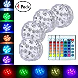 Submersible LED Lights with IR Remote Control Multicolor,Waterproof Battery Powered Tea Lights,10 LED RGB Color Changing Small Pool Lights for Inground Pool,Aquarium,Pond,Fountain(4 Pack)