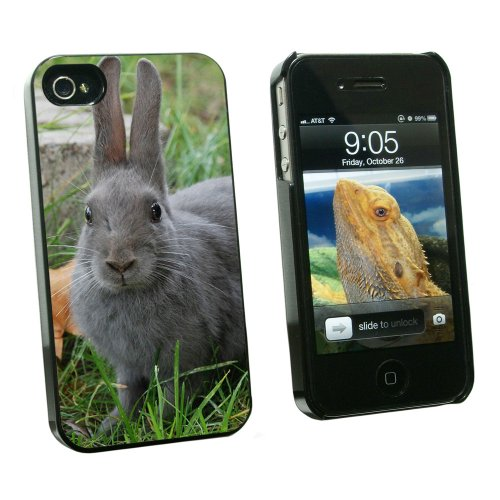 Graphics and More Bunny Rabbit Gray - Easter - Snap On Hard Protective Case for Apple iPhone 4 4S - Black - Carrying Case - Non-Retail Packaging - Black