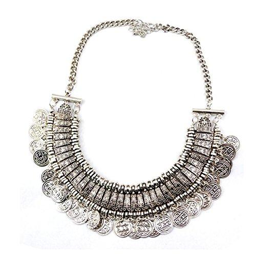 Boosic Thick Tribal Retro Silver Tone Coin Tassel Bib Choker Boho Necklace Gypsy Jewelry For Women