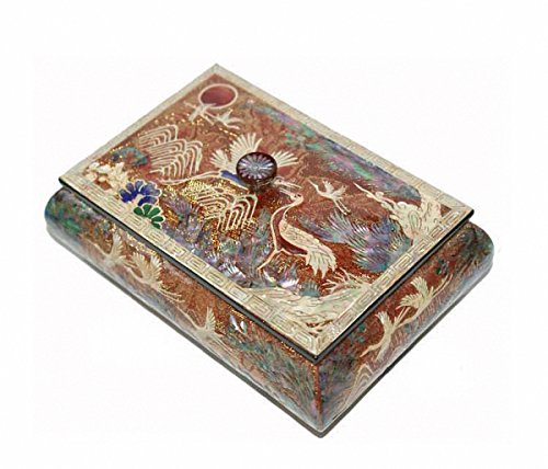 Mother of Pearl Ten Gold Color Crane Design Design Jewelry Box Display Nacre Jewellry Case by JMcore High Quality Jewelry Box