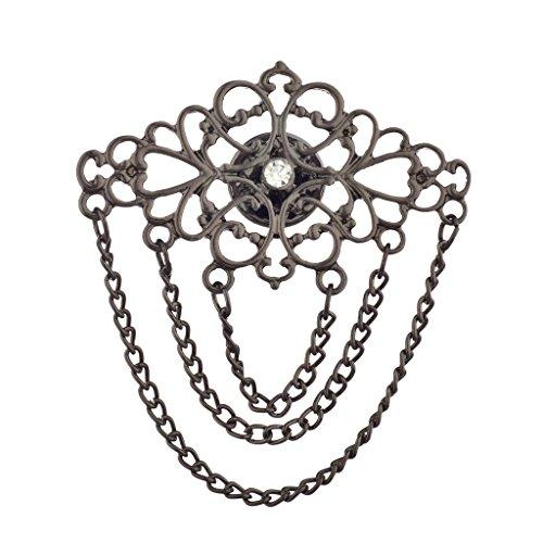 Lux Accessories Hematite Multi Layer Chain Baroque Casted Filagree Brooch Pin