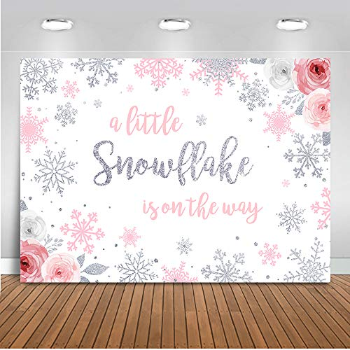 Winter Baby Shower Decorations (Mocsicka Snowflake Baby Shower Backdrop Winter Wonderland Baby Shower Photography Background 7x5ft Vinyl Girl Snowflake Winter Baby Shower)
