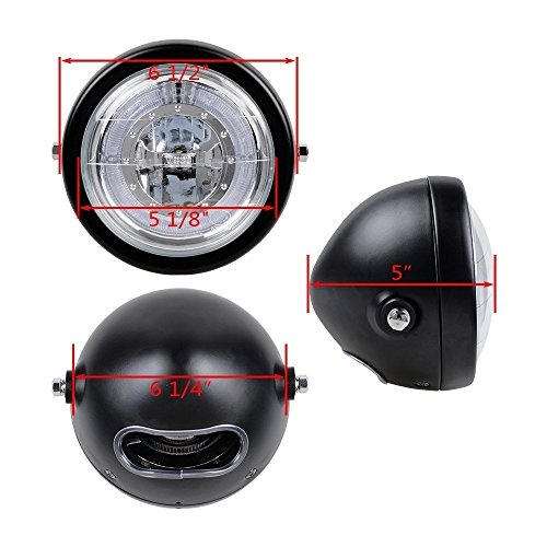 TASWK 6 1/2'' CREE LED Motorcycle Retro Black Clear Lens Headlight Halo Ring for Harley Bobber Cafe Racer Cruiser Vintage Style by TASWK (Image #2)