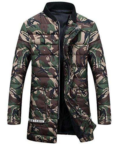 Cappotto M lungo Piumino Eku Camo Medio Noi Cerniera Degli Armygreen Uomini Moda wa0qPRx