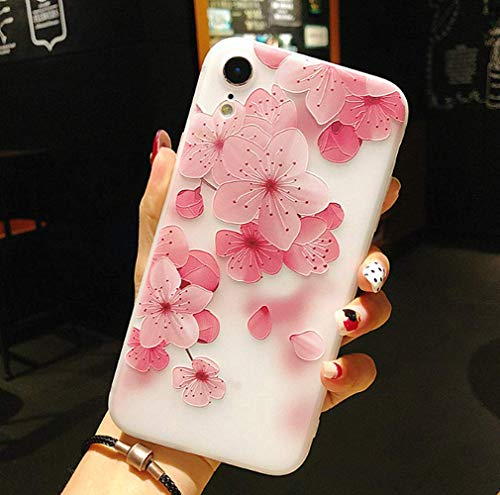 iPhone XR Floral Case,LMing 3D Emboss Beautiful Flower Pattern Slim fit Shock-Absorbing Soft Rubber TPU Skin Cover Case for iPhone XR 6.1inch (Cherry Blossom)