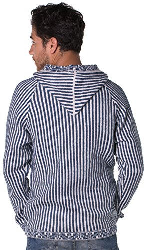 Gamboa - Alpaka Pullover mit Kapuze und Schnürung - Blau und Weiß Gestreiftes Design