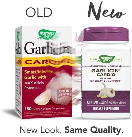 Nature s Way Garlicin Cardio SmartRelease Garlic, Circulation Support, 350 mg per serving, 180 Tablets