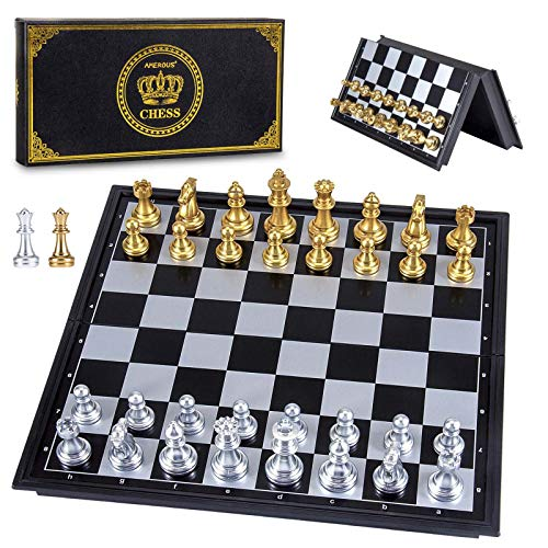 AMEROUS Magetic Travel Chess Set, Plastic Portable Folding Chess Board Game with Gold and Silver Chess Pieces - 2 Extra Queens - Storage Bag for Chessmen, Chess Rules for Beginner, Kids and Adults
