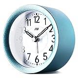 TXL Digital Metal Alarm Clock for Kids' Room Silent Snooze Travel Table Clock with Backlight, Quiet Sweep Luminous Hands, Desk & Shelf Clock for Bedrooms Office Kitchen, Blue