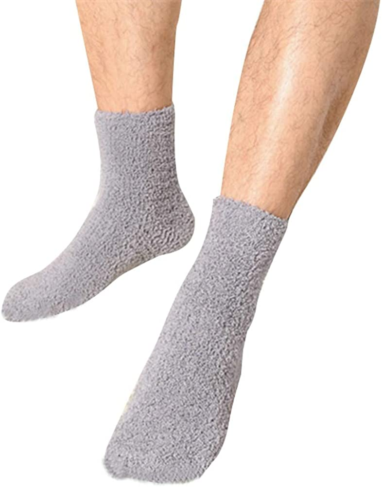 OVOV 3 Pairs Men's Floor Socks Winter Warm Coral Fleece Fluffy Soft Fuzzy Home Socks