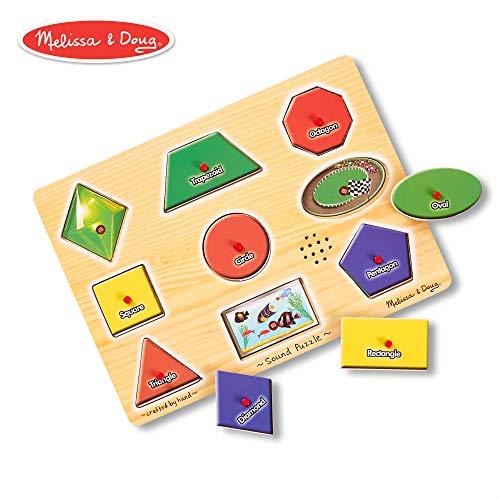 (Melissa & Doug Shapes Sound Puzzle - Wooden Peg Puzzle With Sound Effects (9 pcs))