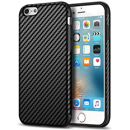 (Tasikar Compatible with iPhone 6s Plus Case/iPhone 6 Plus Case Good Grip Slim Case Carbon Fiber Leather Design for iPhone 6s Plus/iPhone 6 Plus (Black))