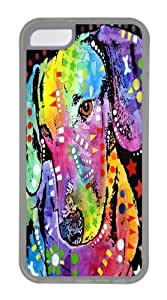 tilted dachshund TPU Silicone Case Cover for iPhone 5C Transparent