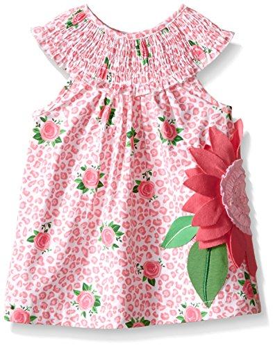 Mud Pie Toddler Girls' Sleeveless Smocked Neckline Sun Dress, Pink Sunflower, 2T by Mud Pie