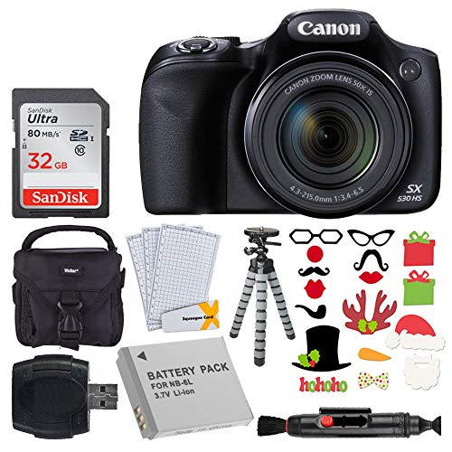 - Canon SX530 HS PowerShot Digital Camera with 50x Optical Zoom & Built-in Wi-Fi (Black) + 32GB Memory Card + Camera Case + NB6L Replacement Battery + Flexible Tripod + Photo Props Holiday Package