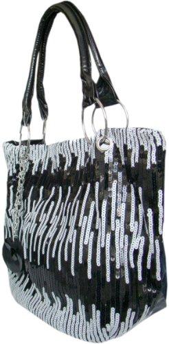 Damen Stylischer Shopper Schultertasche Schwarz/Weiß