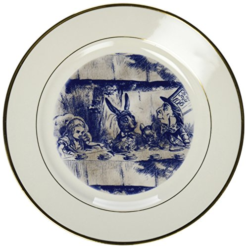 3dRose cp_110203_1 Alice in Wonderland Tea Party with Mad Hatter-Porcelain Plate, 8-Inch