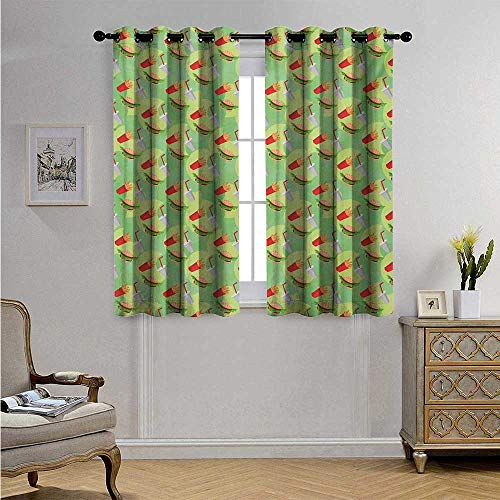 FoodDecorativeCurtainsforLivingRoomHamburger French Fries and Drink Pattern on an Abstract Colorful Circles Background Blackout Drapes W55 x L39(140cm x 100cm) Multicolor