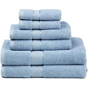 Premium Bamboo Cotton 6 Piece Towel Set (2 Bath Towels, 2 Hand Towels and 2 Washcloths) - Natural, Ultra Absorbent and Eco-Friendly (Aqua)