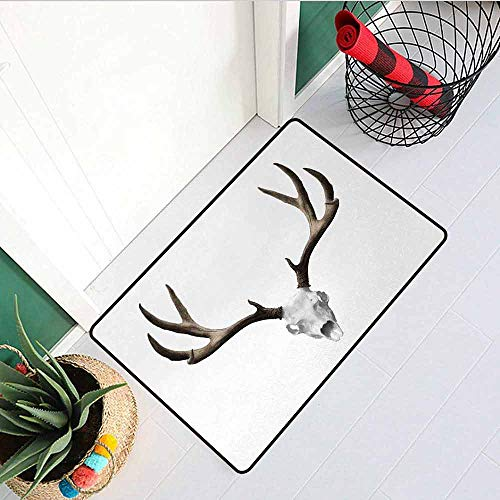 Gloria Johnson Antlers Front Door mat Carpet A Deer Skull Skeleton Head Bone Halloween Weathered Hunter Collection Machine Washable Door mat W23.6 x L35.4 Inch Warm Taupe Light Grey -