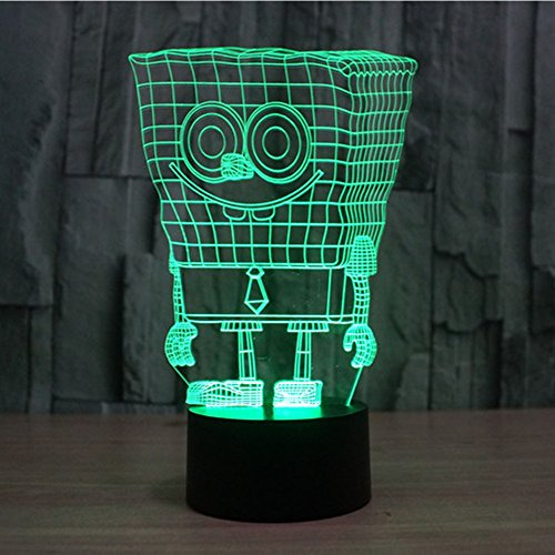 Light Night Spongebob - SUPERNIUDB 3D Sponge 3D Night Light Table Desk Optical Illusion Lamps 7 Color Changing Lights