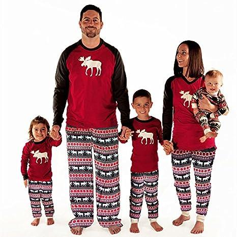 Imixcity Set de 2 Piezas Pijama de la Mujer Ropa de Dormir Familia de Navidad Moose Pajama Set Mamá Papá Niños Ciervo Pijama Set (4-5 años de edad (5T), ...